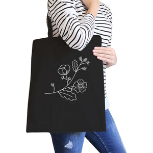Flower Black Cotton Canvas Tote Bag Cute Gift Ideas For Friends