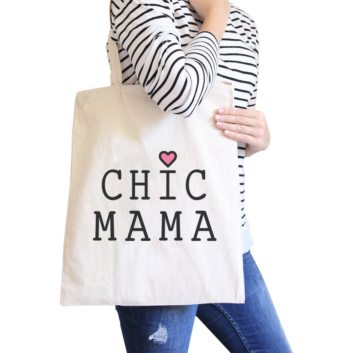 Chic Mama Natural Canvas Tote Bag Gift Ideas For Young Grandmother