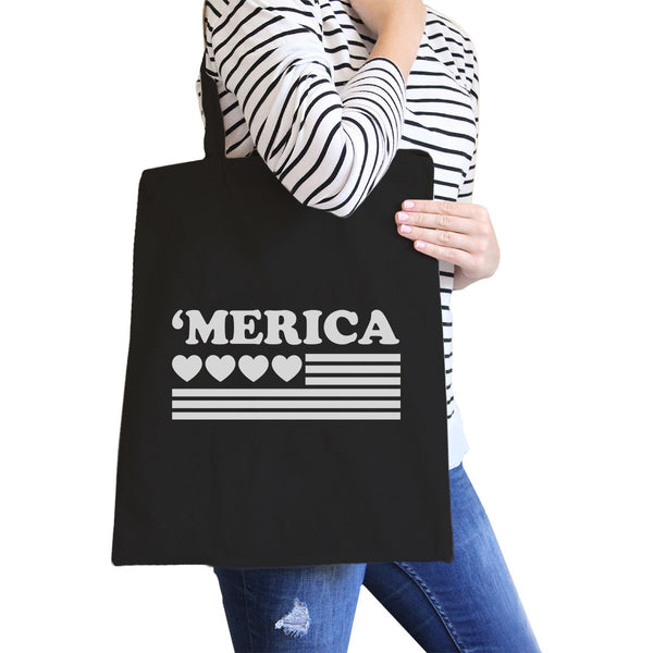 Heart 'merica Black Canvas Bag Unique Fourth of July Canvas Tote