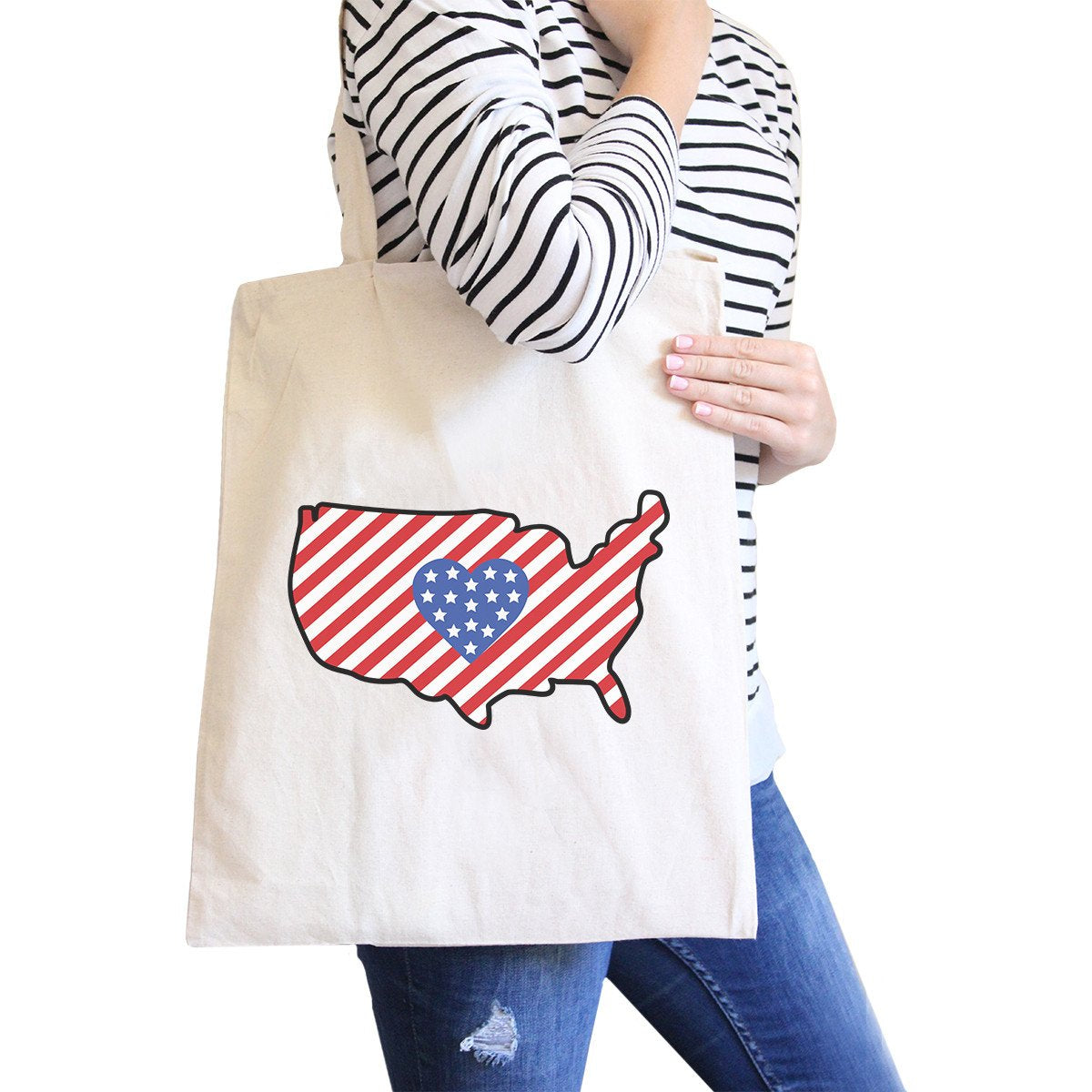 USA Map American Flag Cotton Shoulder Bag Cute Heart Design Tote