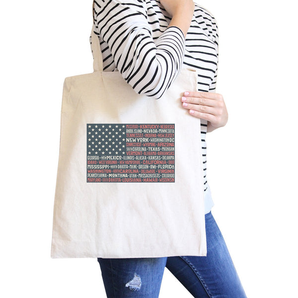 50 States Us Flag Natural Washable Canvas Tote Bag 4th Of July Gift