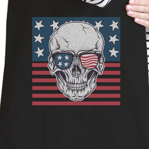 Skull American Flag Black Reusable Canvas Tote Bag July 4th Gifts