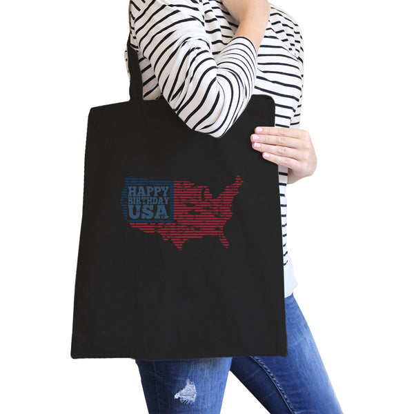 Happy Birthday USA Black Canvas Shoulder Bag For Independence Day