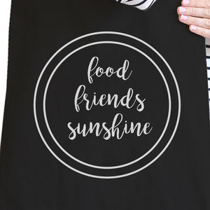 Food Friends Sunshine Cute Graphic Black Canvas Bag Heavy Cotton
