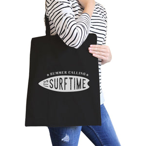 Summer Calling It's Surf Time Black Canvas Bags