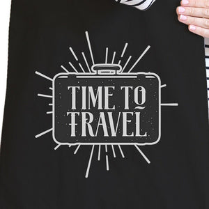 Time To Travel Black Canvas Bags