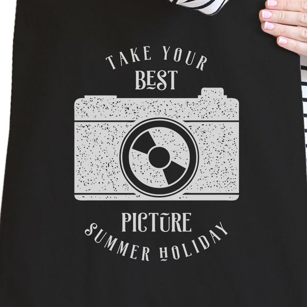Take Your Best Picture Summer Holiday Black Canvas Bags