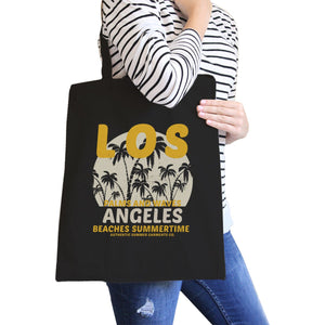 Los Angeles Beaches Summertime Black Canvas Bags