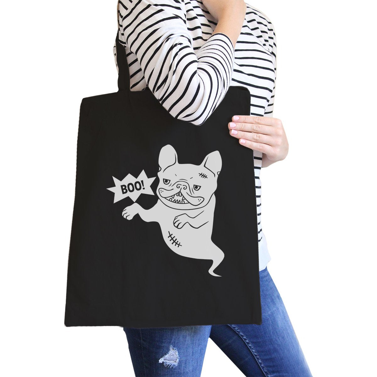 Boo French Bulldog Ghost Black Canvas Bags