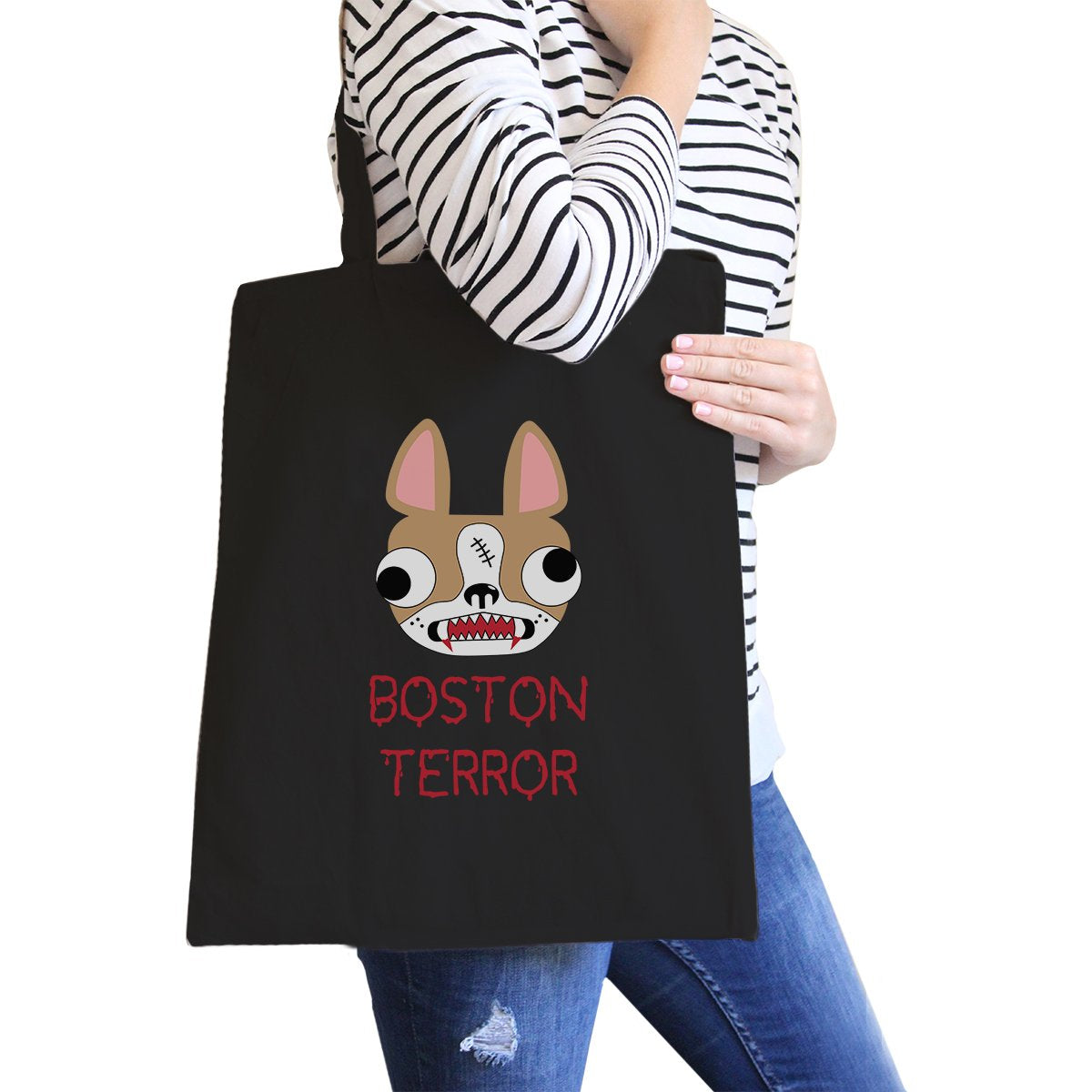 Boston Terror Terrier Black Canvas Bags