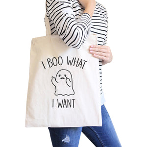 I Boo What I Want Ghost Natural Canvas Bags