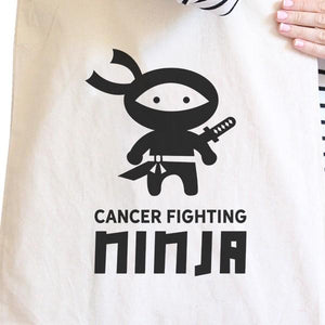 Cancer Fighting Ninja Natural Canvas Bags