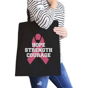 Hope Strength Courage Black Canvas Bags