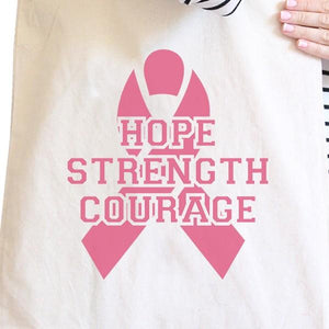 Hope Strength Courage Natural Canvas Bags