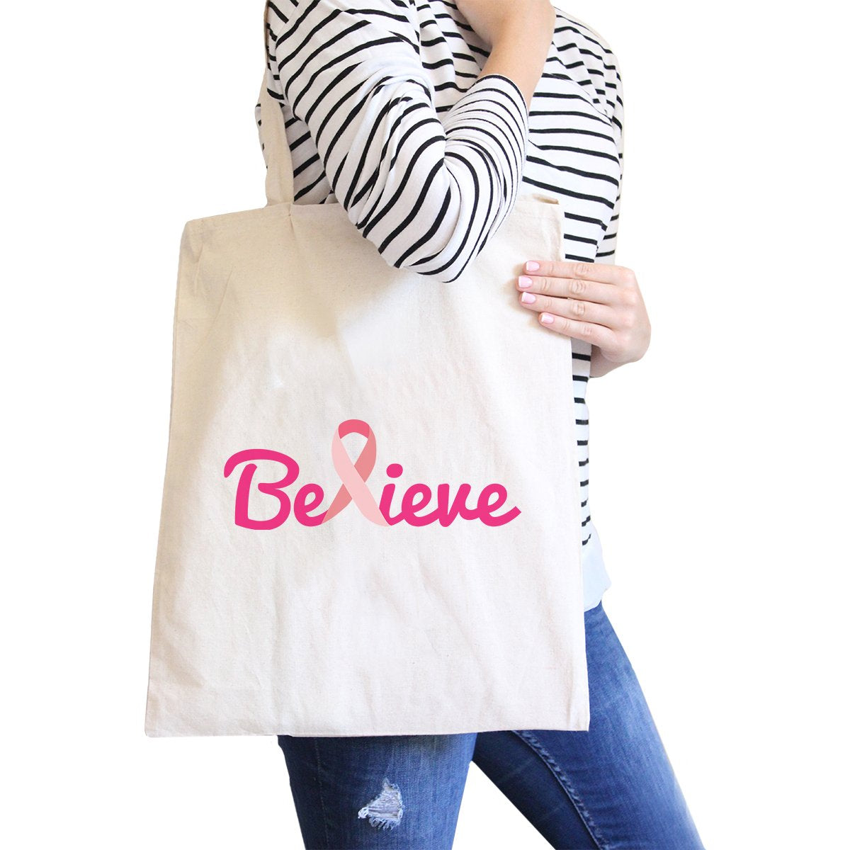 Believe Breast Cancer Awareness Natural Canvas Bags