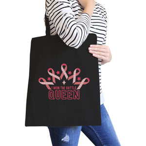 Won The Battle Queen Breast Cancer Awareness Black Canvas Bags