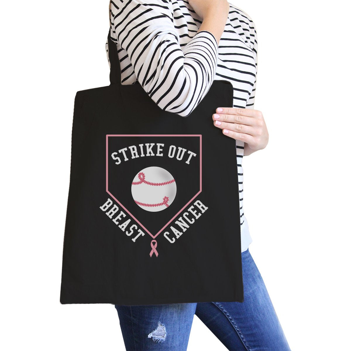 Strike Out Breast Cancer Baseball Black Canvas Bags