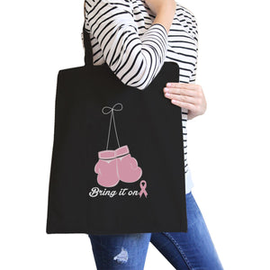 Bring It On Breast Cancer Awareness Boxing Black Canvas Bags