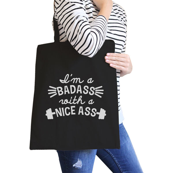 Bad Nice Ass Canvas Shoulder Bag Funny Graphic Gym Workout Tote