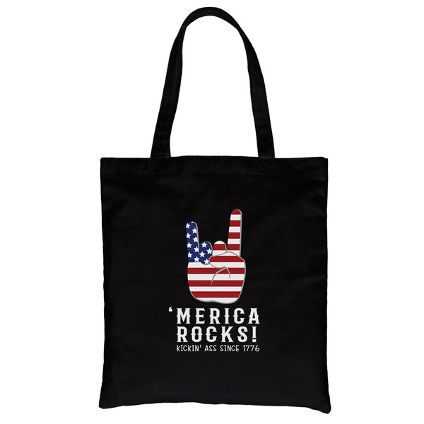 Merica Rocks Canvas Shoulder Bag Cute 4th of July Gift Canvas Tote
