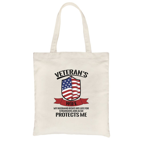 Veteran's Wife Canvas Bag Heavy Cotton Cute US Veteran Gift Bag