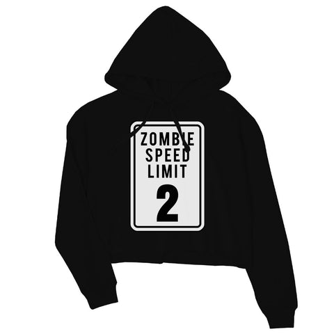Zombie Speed Limit Womens Crop Hoodie
