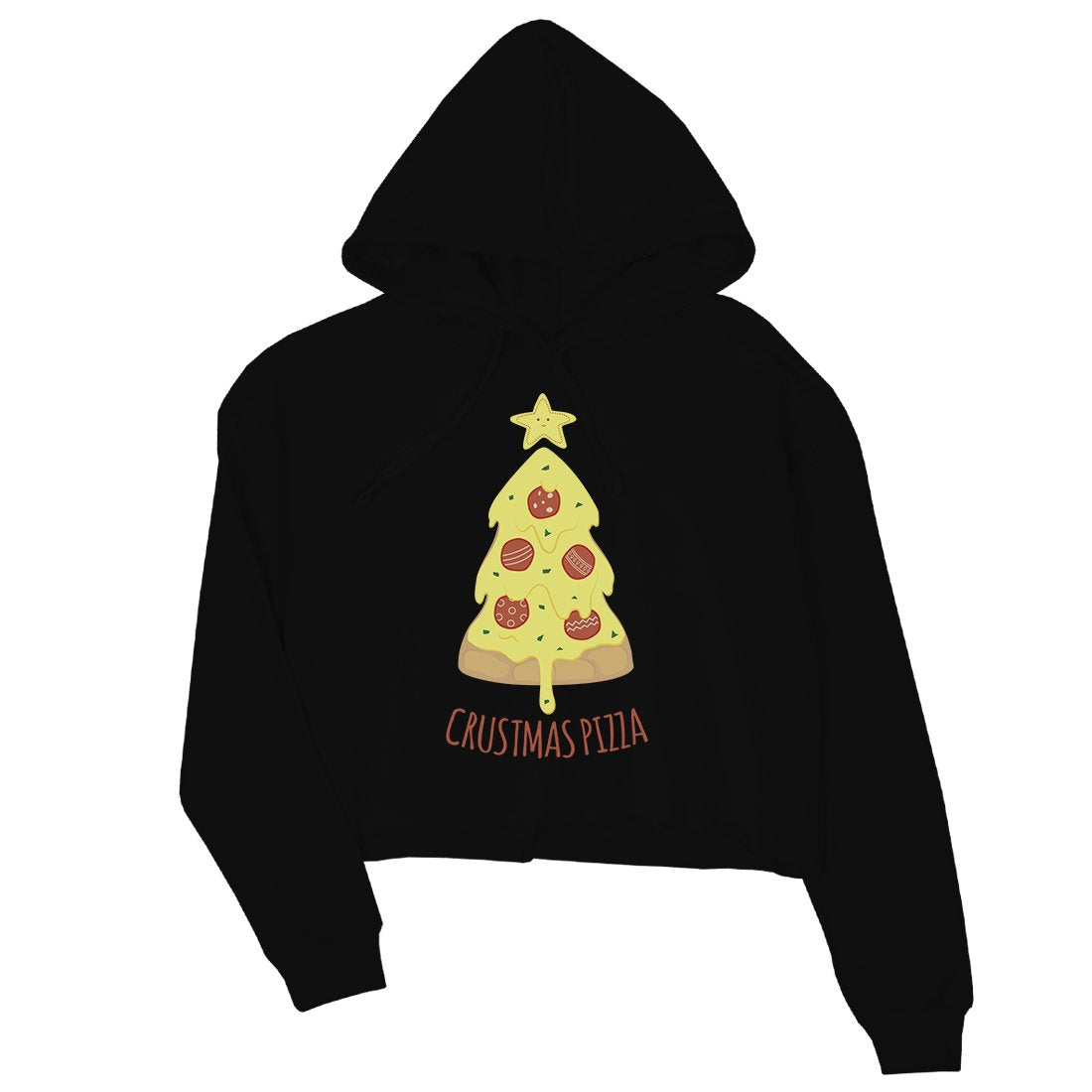 Crustmas Pizza Womens Crop Hoodie