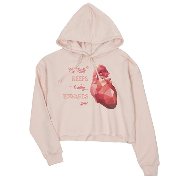 Geometric Heart Beating Womens Crop Hoodie Unique Anniversary Gift