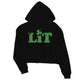 Lit Shamrock Womens St Patricks Day Crop Hoodie Funny Irish Gift
