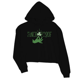 Pinch Me Punch You Womens Cute Saint Patrick's Day Cropped Hoodie