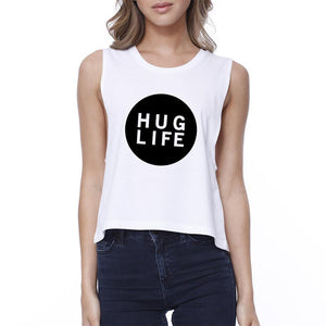 Hug Life Women's White Crop Top Cute Design Love For Life Quote