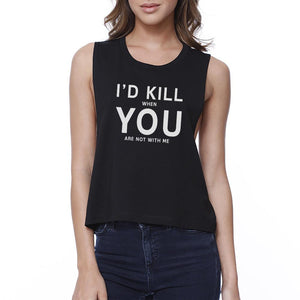 I Hate You Women's Black Crop Tee Creative Gifts For Anniversaries