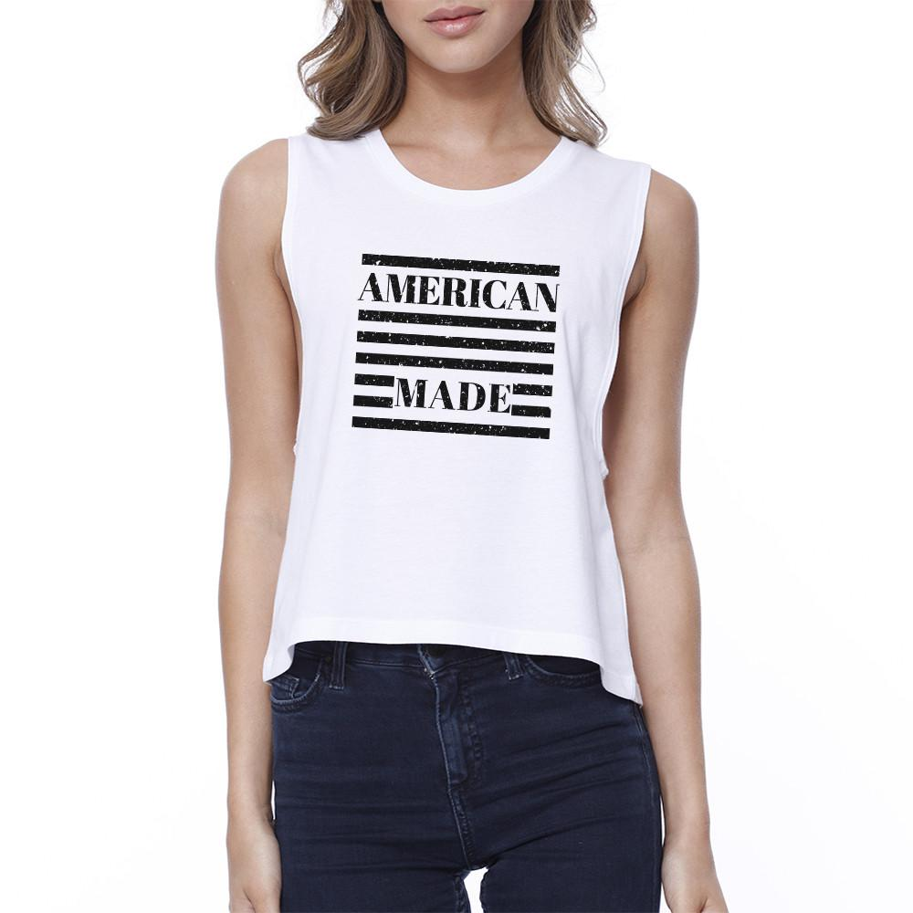 American Made Cute Design 4th of July Decorative Crop Top Cotton