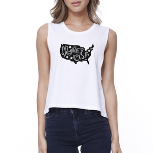 I Love USA Womens White Graphic Crop Tee Unique USA Map Design Tee