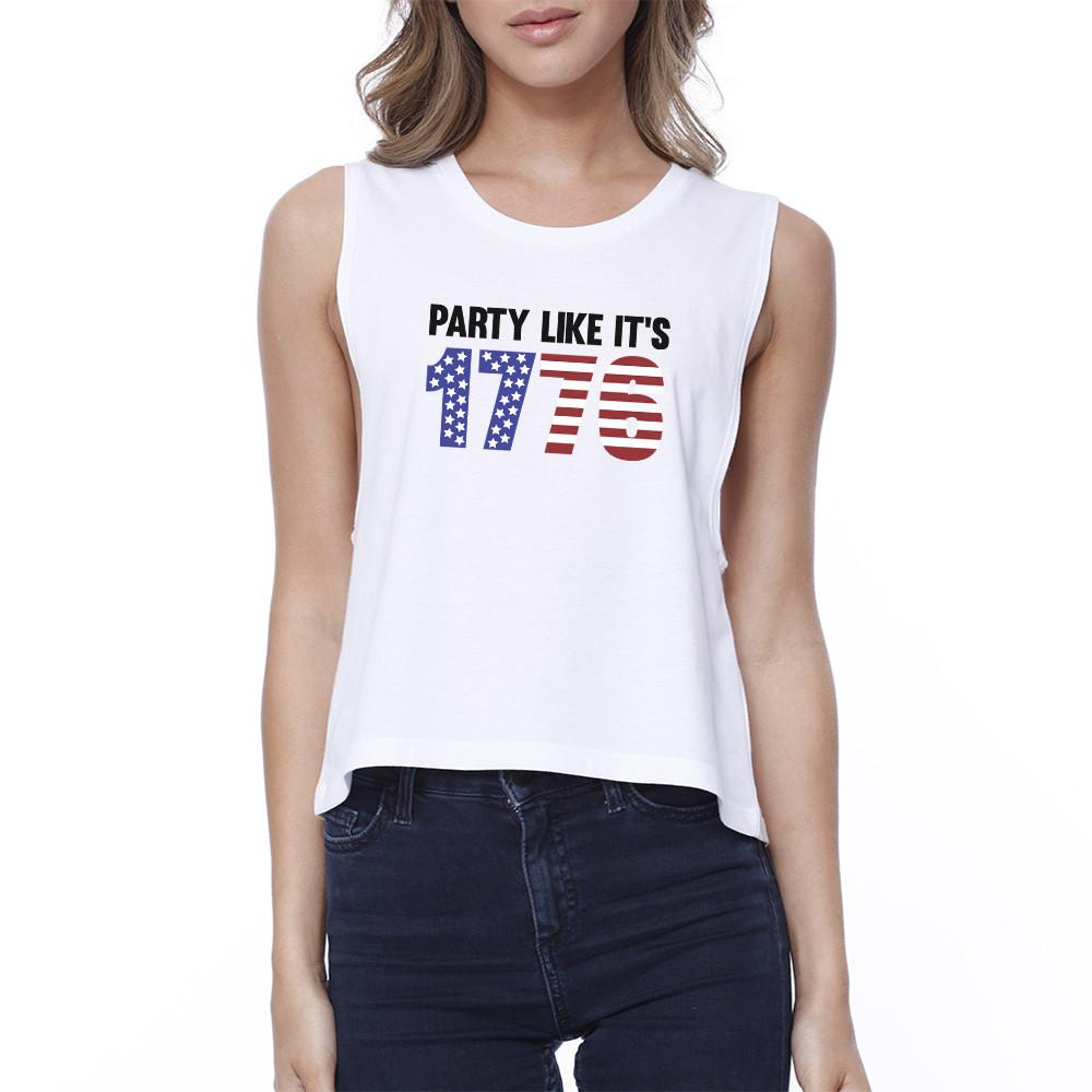 Party Like It's 1776 Womens White Cute Independence Day Crop Top