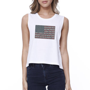50 States Us Flag Womens White Crop Tee Funny 4th Of July Tank Top