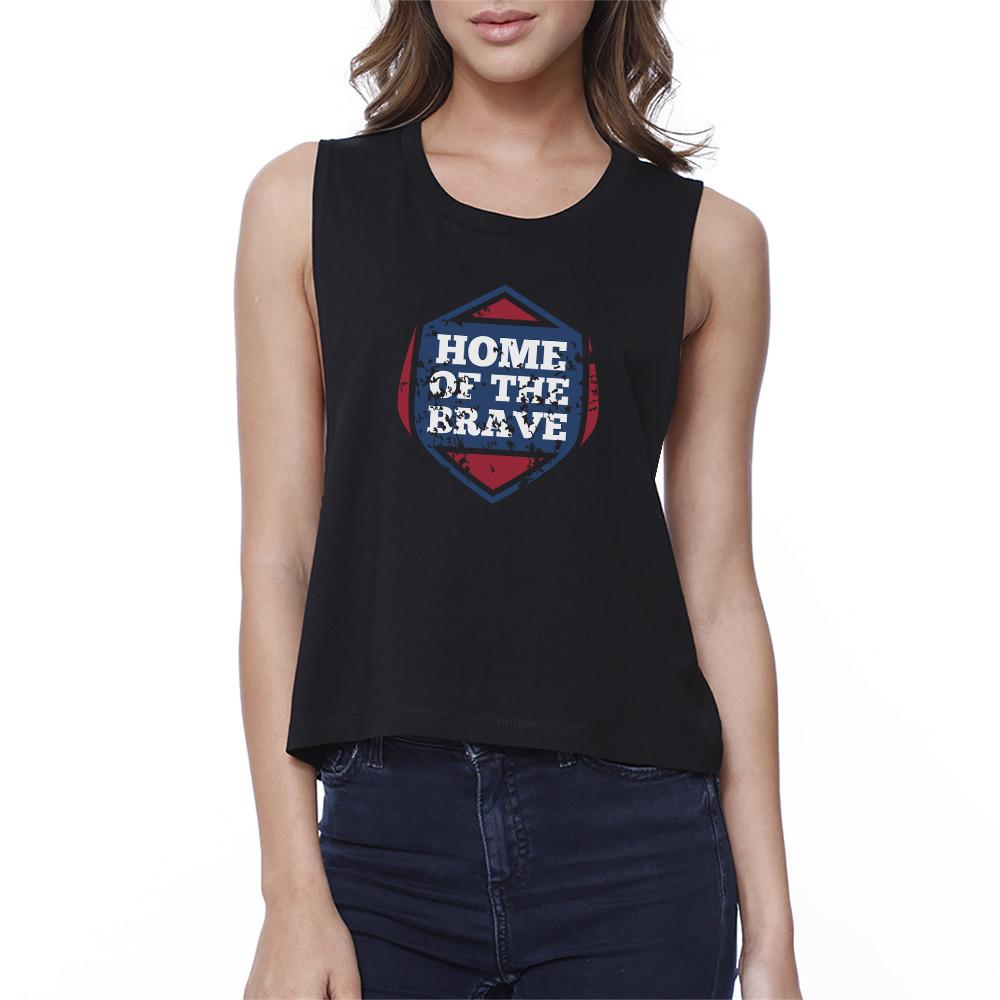 Home Of The Brave Black Cotton Unique Graphic Crop Tee For Women