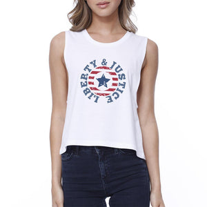 Liberty & Justice Womens White Sleeveless Tee 4th Of July Crop Tee