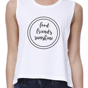 Food Friends Sunshine Womens White Graphic Crop Top Letter Printed