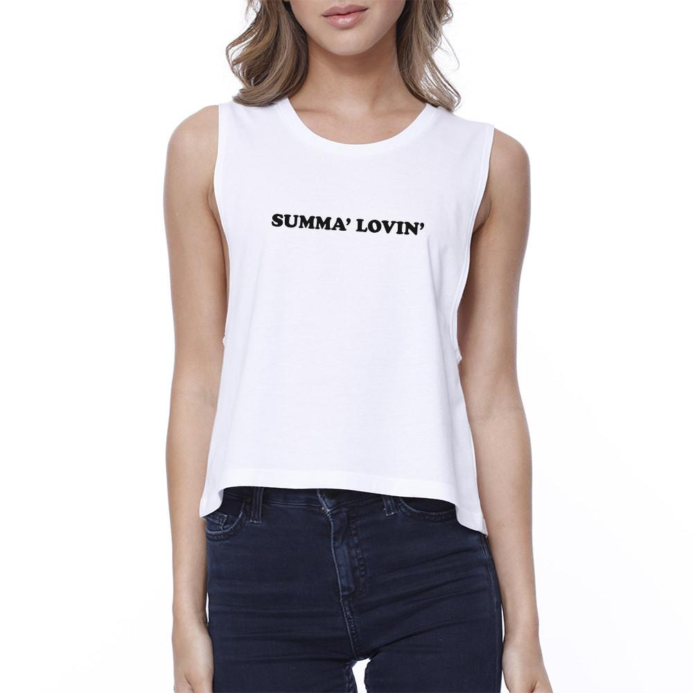 Summa' Lovin' Womens White Cool Summer Crop Tee Funny Saying Top