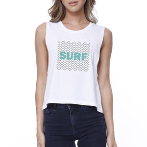 Surf Waves Womens White Sleeveless Crop Tee Shirt For Surfing Lover