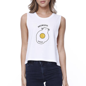 Meowgical Cat And Fried Egg Womens White Crop Top