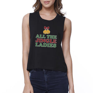 All The Jingle Ladies Womens Black Crop Top