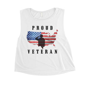 Proud Veteran Mom Womens Cute Graphic Crop Tee For Workout Gift