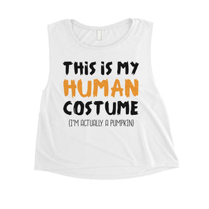 This Is My Human Costume Womens Crop Top
