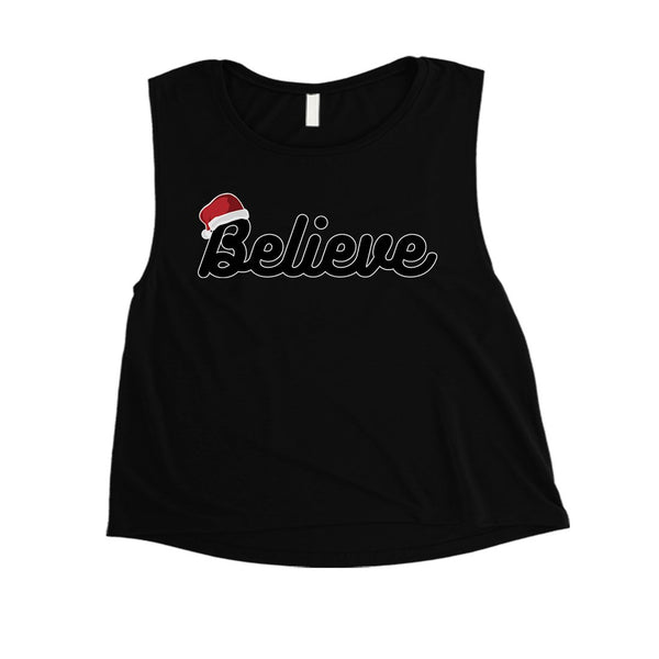 Believe Santa Hat Womens Crop Top