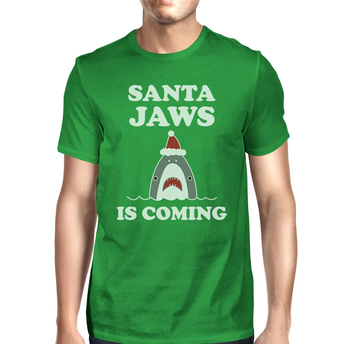 Santa Jaws Is Coming Mens Green Shirt