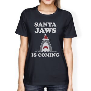 Santa Jaws Is Coming Womens Navy Shirt