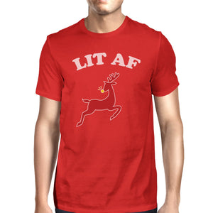 Lit Af Mens Red Shirt