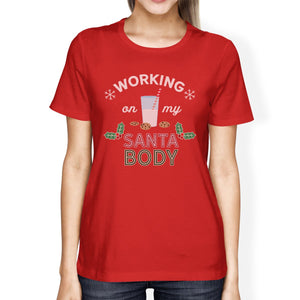 Working On My Santa Body Womens Red Shirt